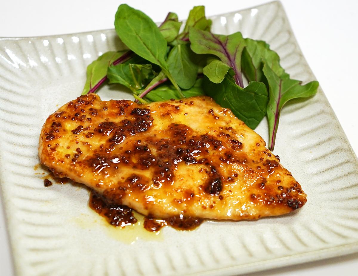⦅動画⦆赤鶏うす切りむね肉 ハニーマスタード焼き