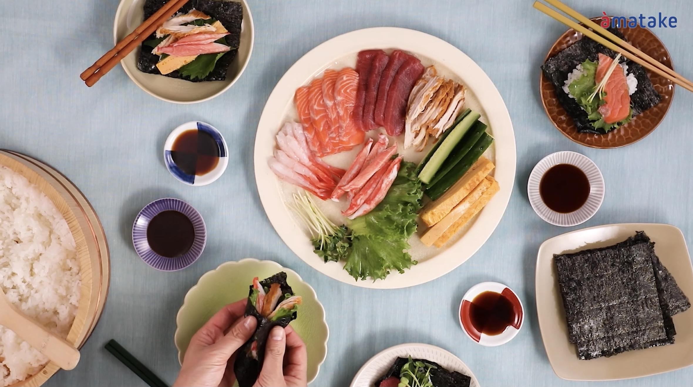 ⦅動画⦆サラダチキンタンドリーの手巻き寿司